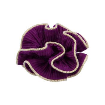 produkt billede af lilje scunchie i bordeaux med guld kant