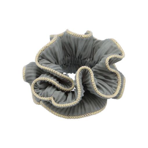 Lilje scrunchie i grå med guldkant