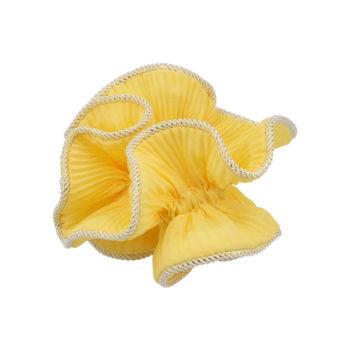 Produktbillede af lilje scrunchie i gul med guldkant