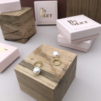 Produktbillede af Luis hoops øreringe i guld med ferskvandsperler