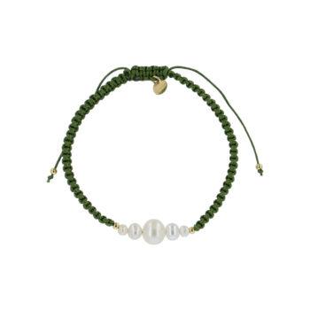 produkt billede af Maria armbånd med ferskvandsperler i army