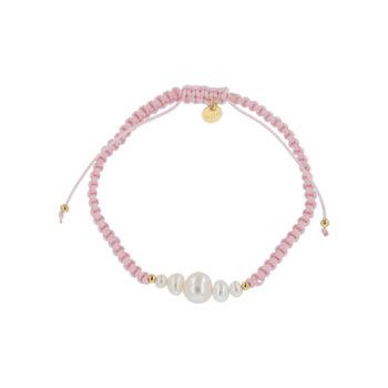 produkt billede af Maria armbånd med ferskvandsperler med snor i rosa