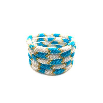 produktbillede af nepal armbånd nr. 730 i blå, hvid og guld