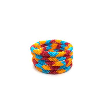 Produktbillede af Nepal Armbånd nr 745 blå, rød og orange.