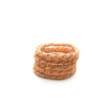 Produktbillede af Nepal Armbånd nr. 748 i lyserød og guld perler.