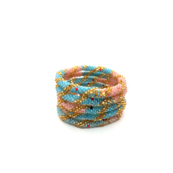 produktbillede af nepal armbånd nr. 753 i lyserød, lyseblå og guld