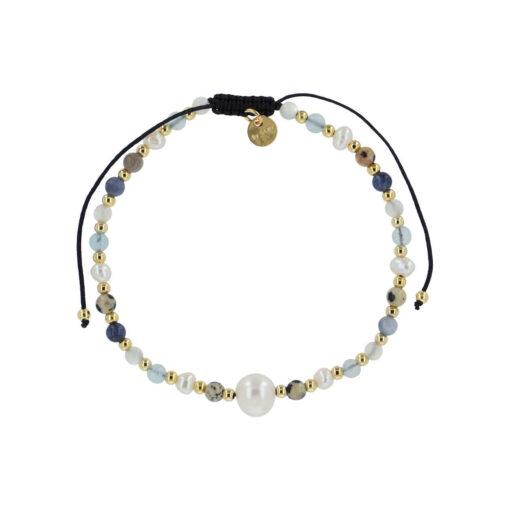 Produktbillede af Silje armbåndet med ferskvandsperler og sten