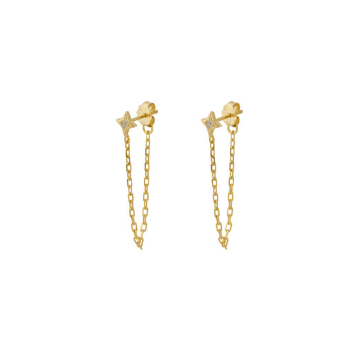 Produktbillede af øreringen Stardust i guld med Zirconia sten