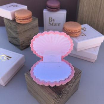 Shell box smykkeæske i rosa farvet velour