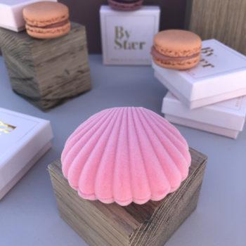Produktbillede af shell box i rosa farvet blødt velour
