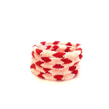 produktbillede af nepal armbånd nr. 736 i rosa hvid og rød
