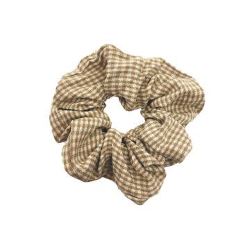 Scrunchie Hårelastik i ternet beige