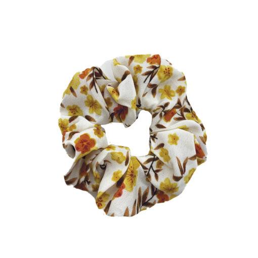 Scrunchie hårelastik med blomstermotiv