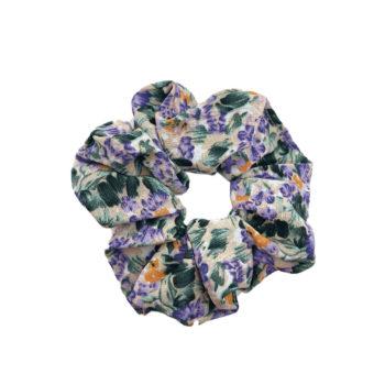Scrunchie Hårelastik ned lilla blomster