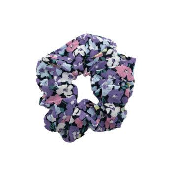 Scrunchie Hårelastik med lilla og rosa blomster