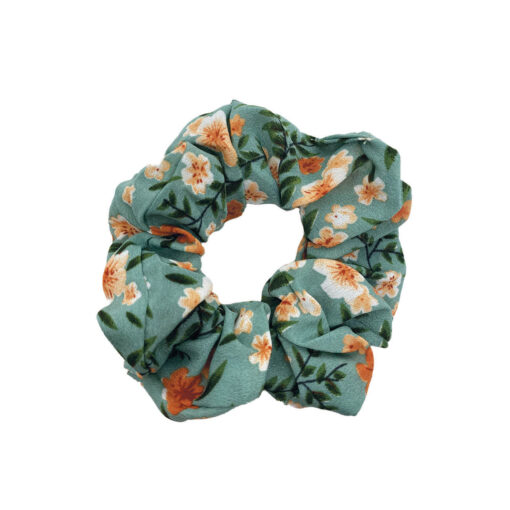 Scrunchie Hårelastik i orange og hvid