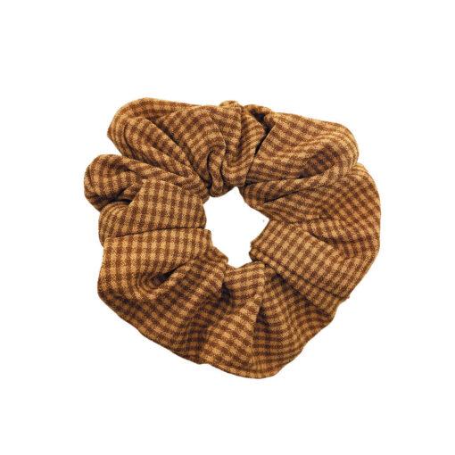 Scrunchie Hårelastik i ternet brun