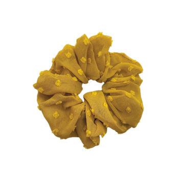 Scrunchie hårelastik i dijon med små dutter