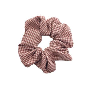 Scrunchie Hårelastik i ternet rosa