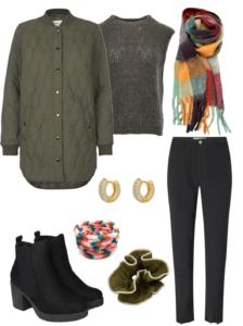 Efterårs outfit nr 4. med bell hoops, lijlie scrunchie og red & mint aura halstørklæde