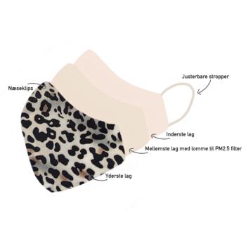 Stofmundbind med jaguarprint