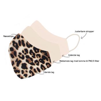 Stofmundbind med leopardprint