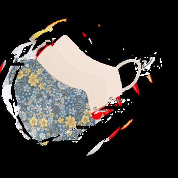 Mundbind med blåt blomsterprint