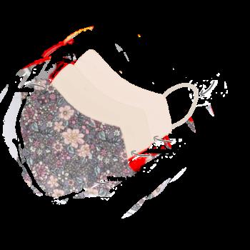 Mundbind med lilla blomsterprint