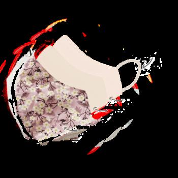 Stofmundbind med rosa blomsterprint