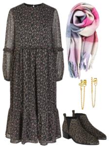 efterårs outfit nr 3. med kjole, merle ørering, thea ørering, og rosa mix aura halstørklæde