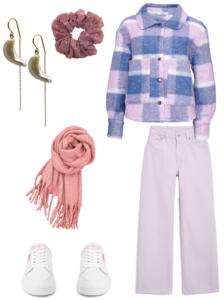 efterårs outfit nr. 2 - med pastel farver og karen øreringe, rosa dut scrunchie, og rosa Aura halstørklæde