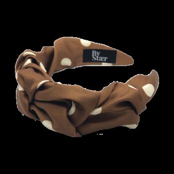 bella hårbøjle i brun med store polka prikker