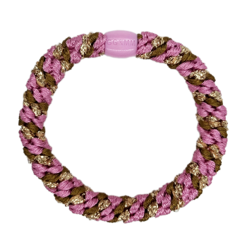 produkt billede af braided hairtie i brunt og pink