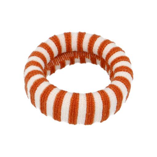 Ea hårelastik i stribet hvid og orange