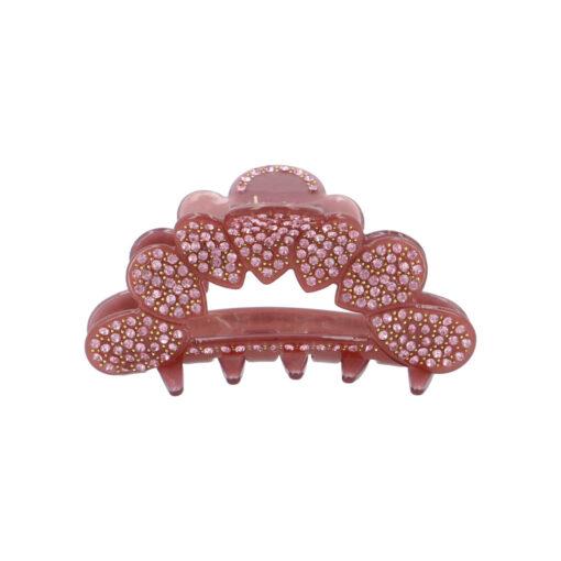 Mellemstor Frigga hårklemme i rosa beklædt med smukke sten