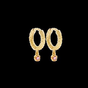 Molly Hoops Guld Øreringe med rosa zirkonia sten