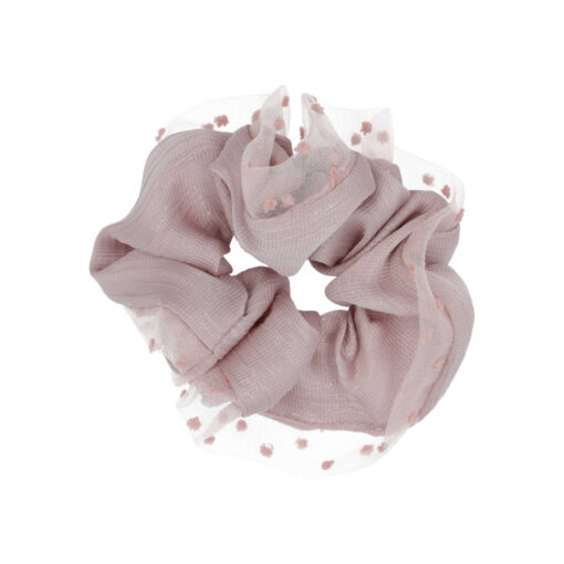 Nadine scrunchie i halvt silte og gennemsigtig med prikker på langs kanten i Rosa