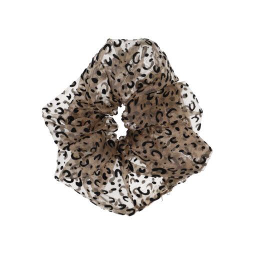 stor scrunchie hårelastik i leopardmønster
