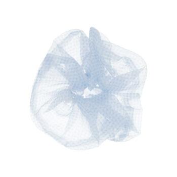 Stor scrunchie hårelastik i ternet blå