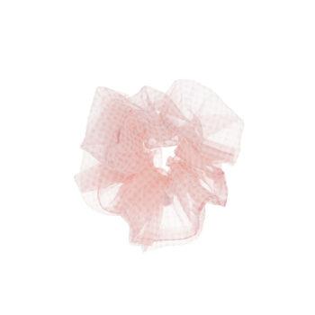 petit scrunchie hårelastik i ternet lyserød