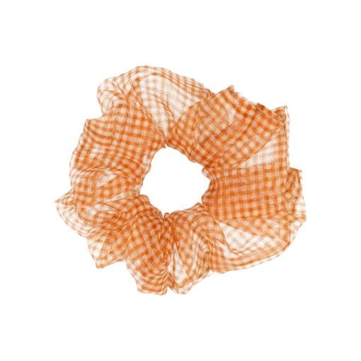 xpetit scrunchie hårelastik i ternet orange