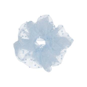 Stor gennemsigtig scrunchie i babyblå med babyblå prikker