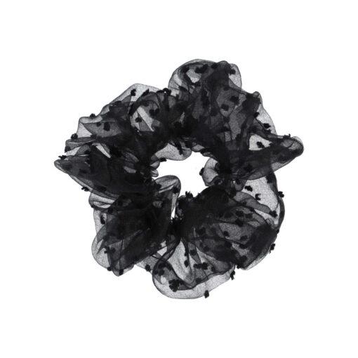 Stor gennemsigtig scrunchie i sort med sorte prikker