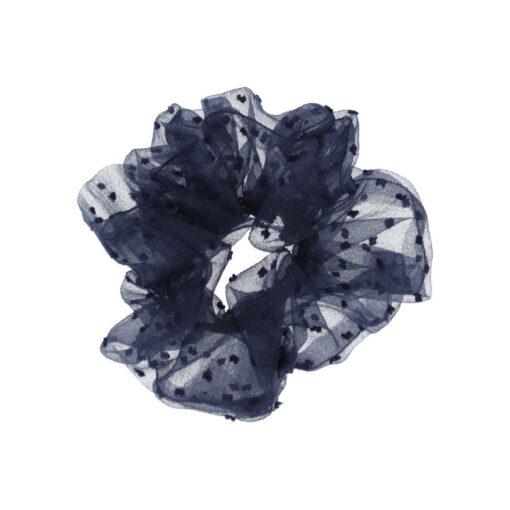 Stor gennemsigtig scrunchie i Navy med navy prikker