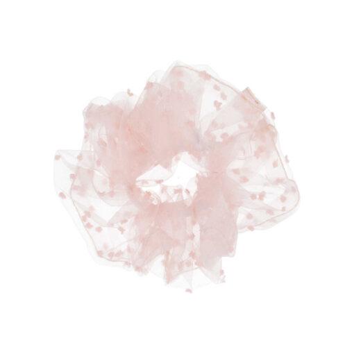 Stor gennemsigtig scrunchie i lyserød med lyserøde prikker