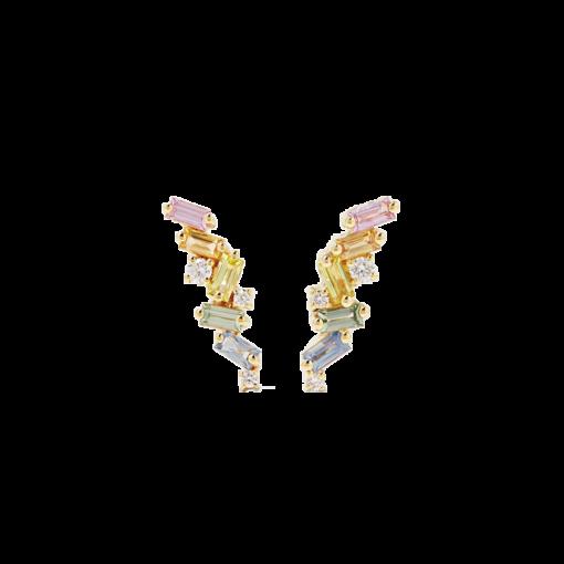 Guldbelagte Øreringe med zirkonsten