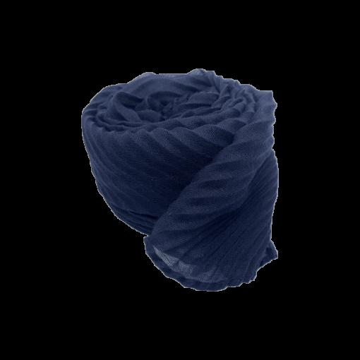 Nila tørklæde i navy med strukturmønster