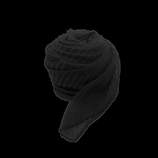 Nila tørklæde i sort med strukturmønster