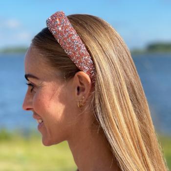 Bred hårbøjle med glitter sten i farven bronze og sølv
