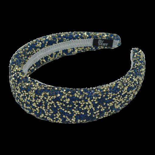 Lin Hårbøjle med glimmer i farverne Navy og Guld